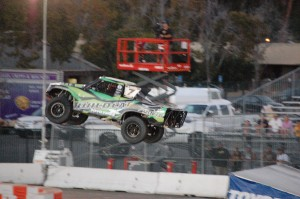 Robby Gordon made a late race mistake after trying to take the lead from Sheldon Creed but had to settle for second.